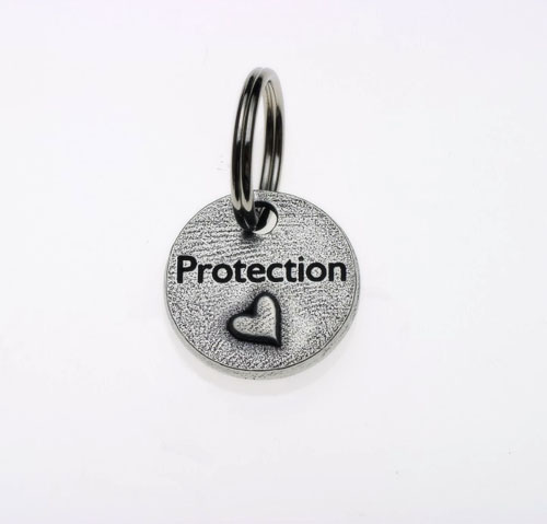 Pewter Dog Collar Charm or Cat Collar Charm: Protection Heart