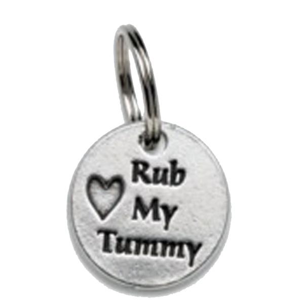 Pewter Dog Collar Charm or Cat Collar Charm: Rub My Tummy