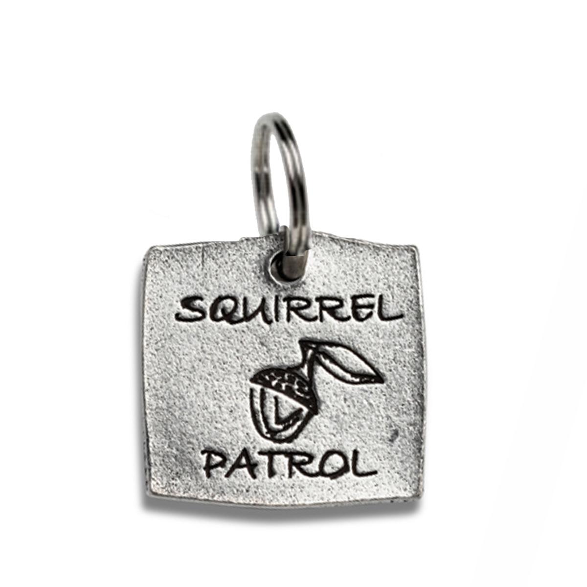 Pewter Dog Collar Charm: Squirrel Patrol