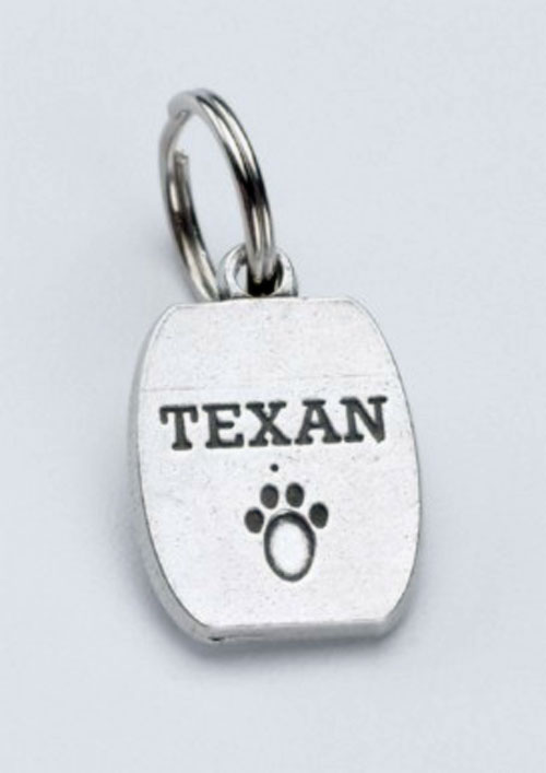 Pewter Dog Collar Charm or Cat Collar Charm: Texan