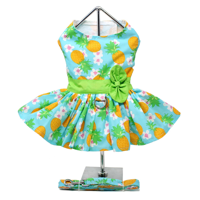 Pineapple Luau Dog Harness Dress with Leash by Doggie Design