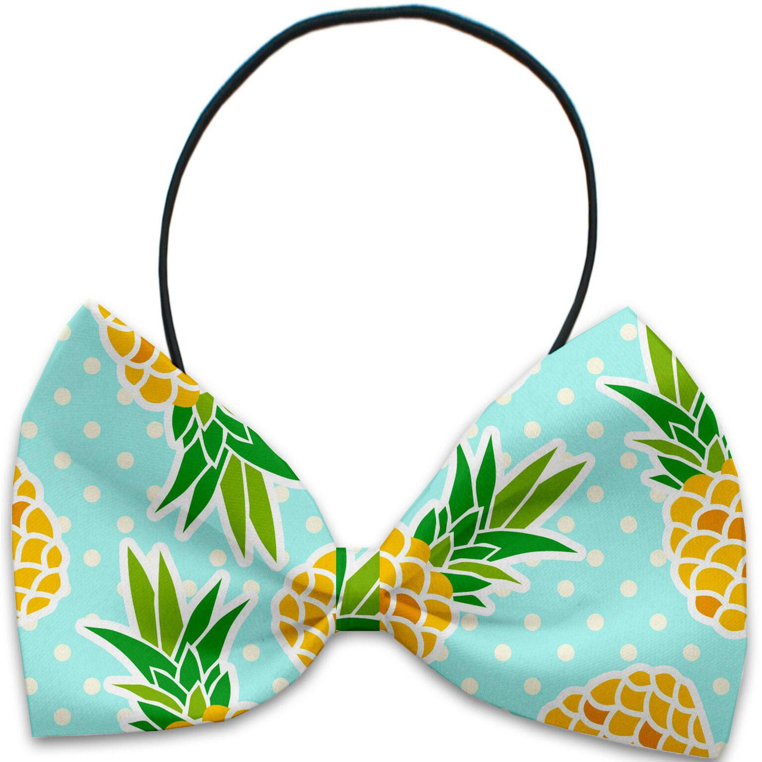Mirage Pineapples and Polka Dots Dog Bow Tie