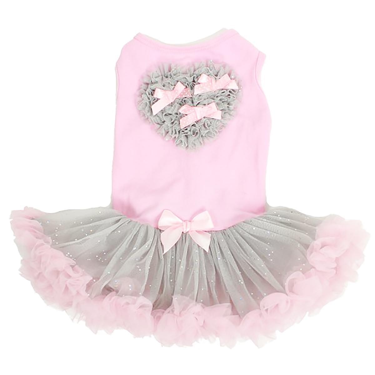 Pink and Gray Heart Pet Dress by Pawpatu