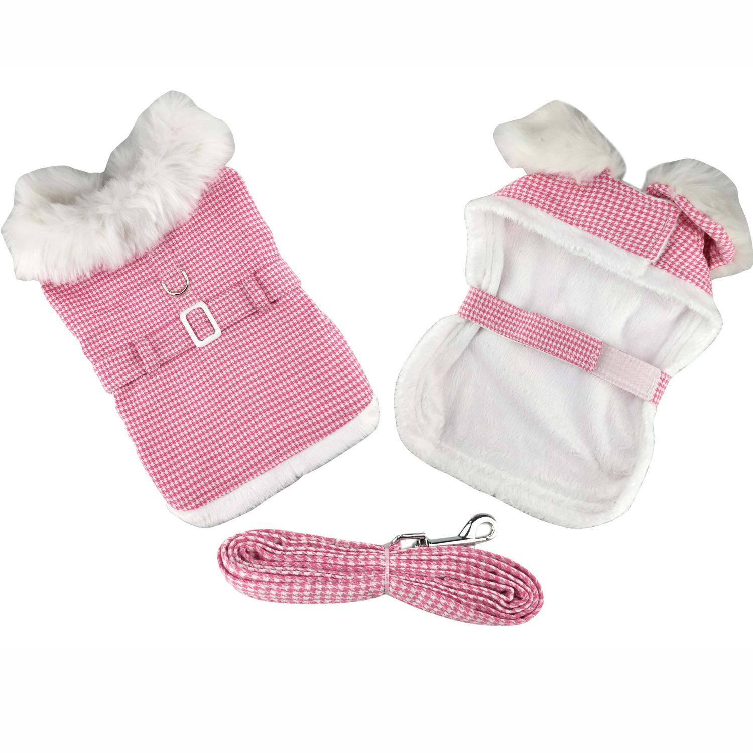 Pink Houndstooth and White Fur Collar Harness Coat by Doggie Design