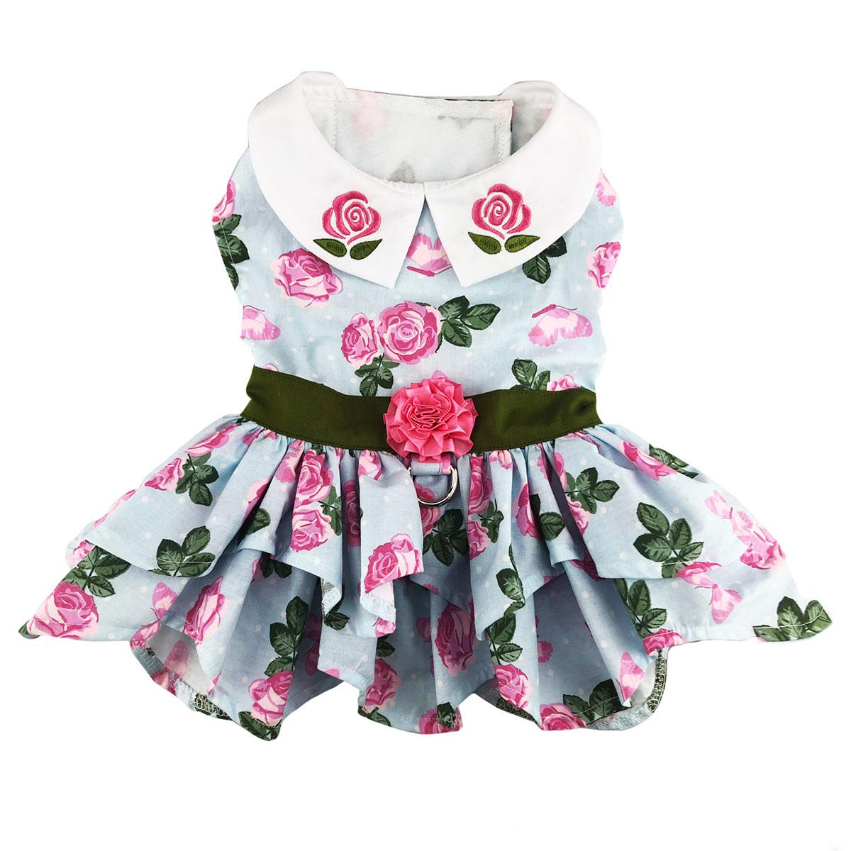 Pink Rose Dog Harness Dress with Matching Leash by Doggie Design