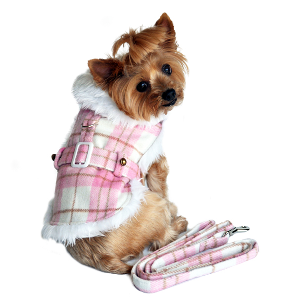 Plaid Fur-Trimmed Dog Harness Coat by Doggie Design - Pink and White
