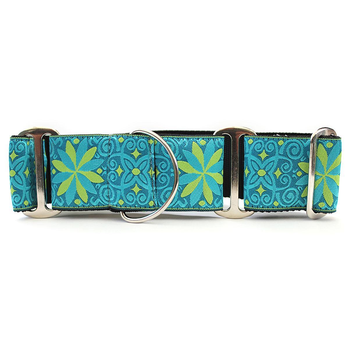 Pinwheel Wide Martingale Dog Collar by Diva Dog - Caribbean Blue