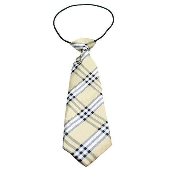 Plaid Big Dog Neck Tie - Cream