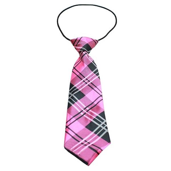 Plaid Big Dog Neck Tie - Pink