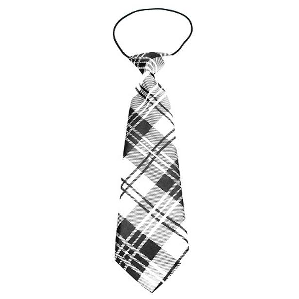 Plaid Big Dog Neck Tie - White
