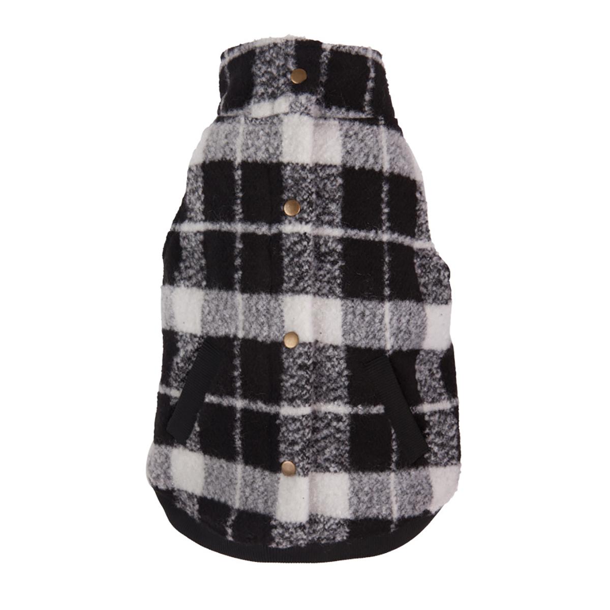 Plaid Boucle Dog Jacket - Black and White