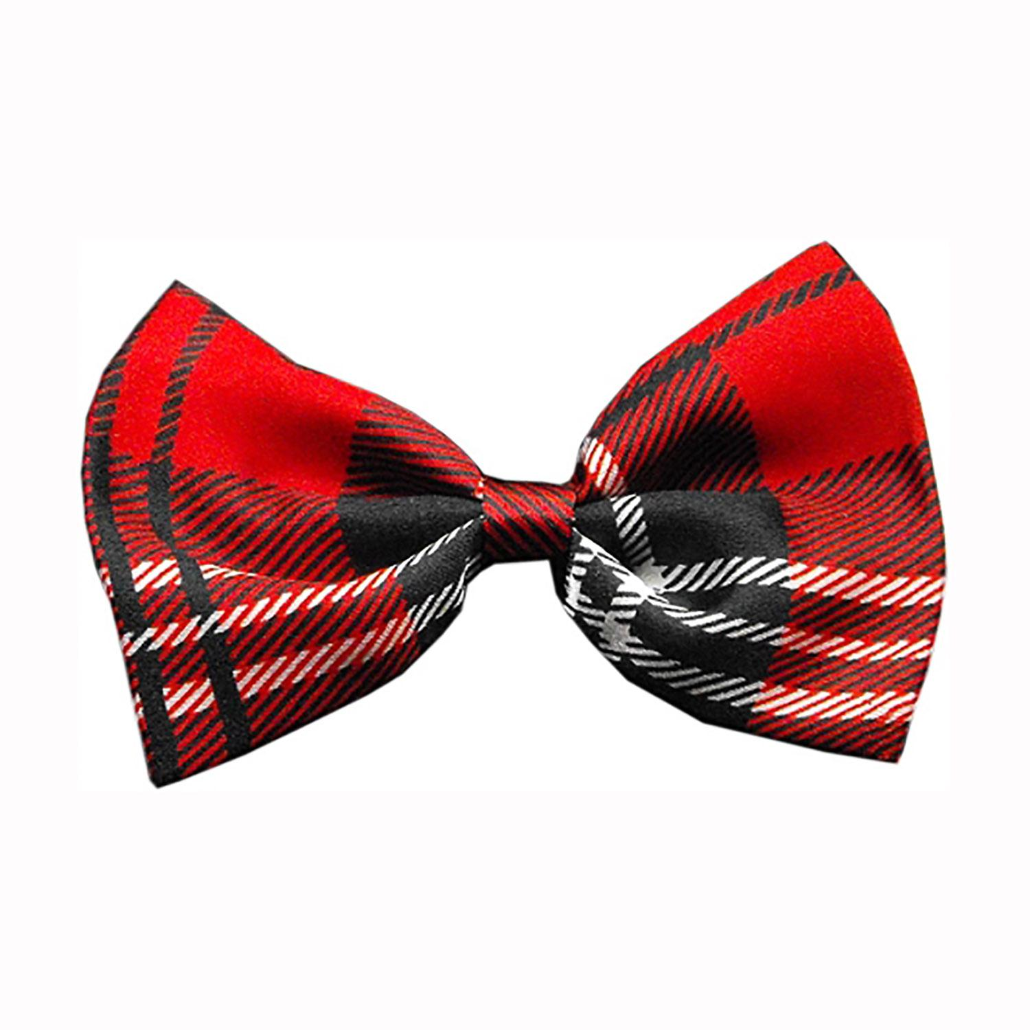 Plaid Dog Bow Tie - Red