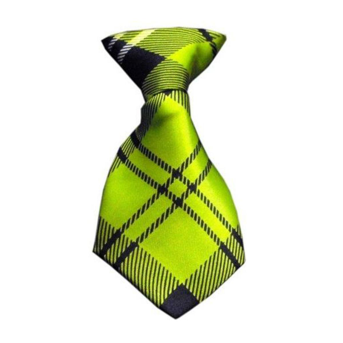 Plaid Dog Neck Tie - Lime Green