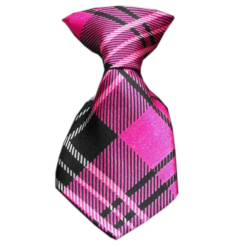 Plaid Dog Neck Tie - Pink