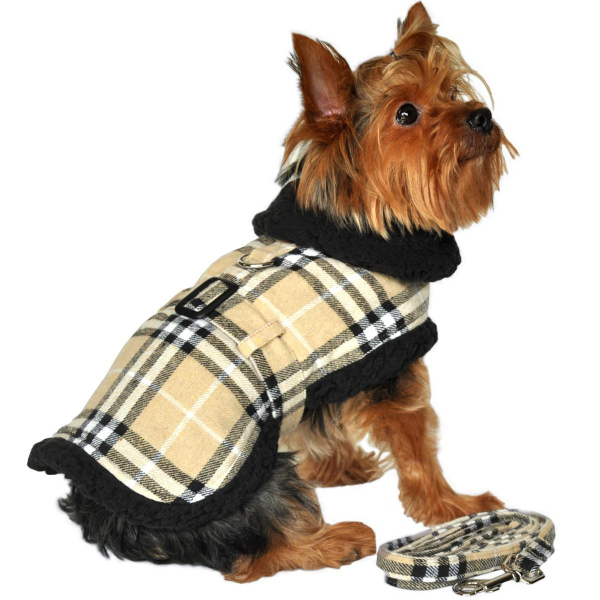 Doggie Design Plaid Sherpa Fleece Lined Dog Harness Coat - Camel & Black