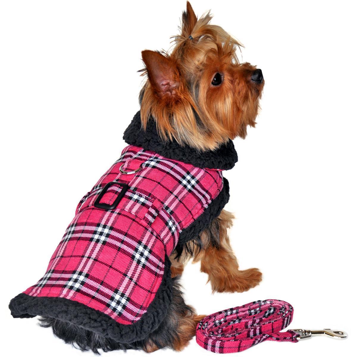 Doggie Design Plaid Sherpa Fleece Lined Dog Harness Coat - Hot Pink & Black