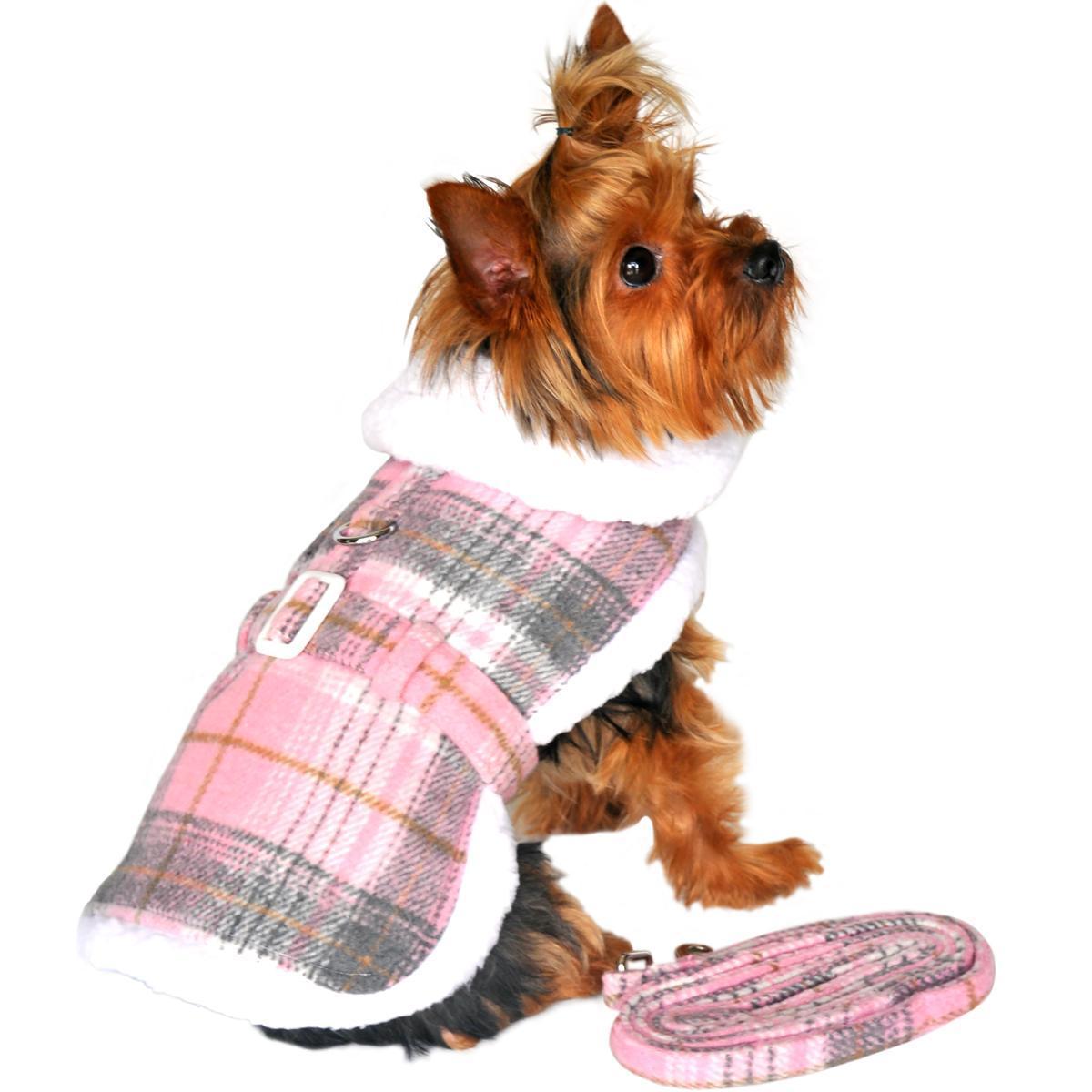 Doggie Design Plaid Sherpa Fleece Lined Dog Harness Coat - Pink & White