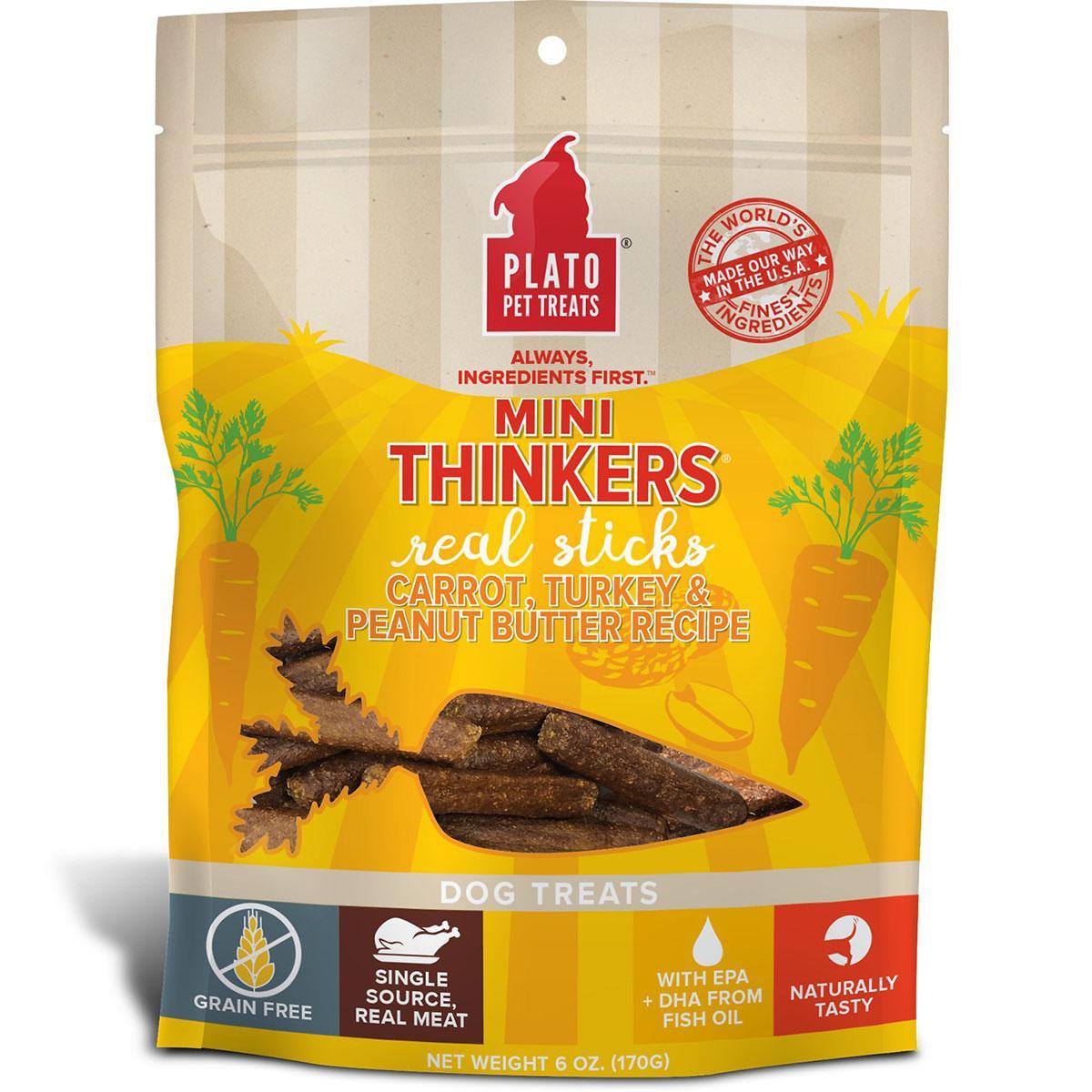 Plato Mini Thinkers Grain-Free Carrot, Turkey & Peanut Butter Dog Treats