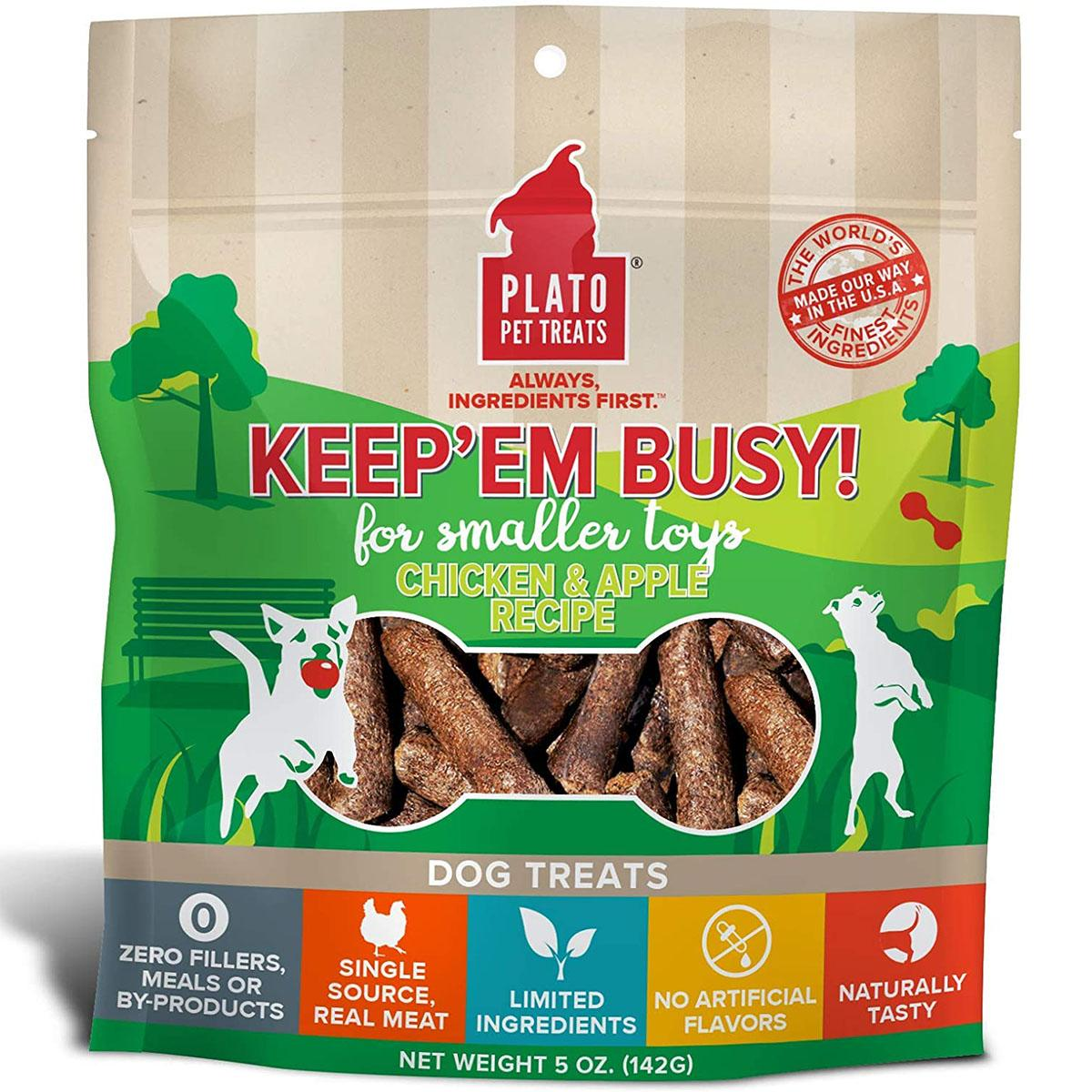 Plato Keep 'Em Busy Chicken & Apple Toy Stuffers Dog Treats