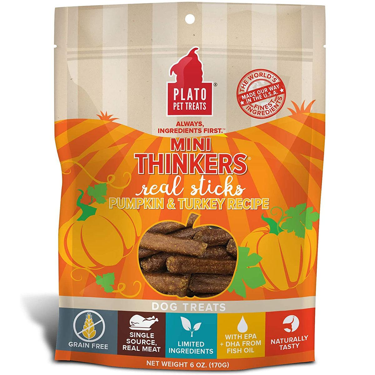 Plato Mini Thinkers Grain-Free Pumpkin & Turkey Dog Treats