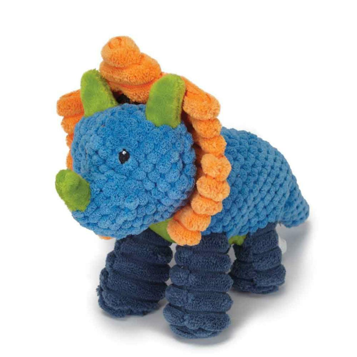 Play 365 Jurassic Cord Crew Triceratops Dog Toy - Blue