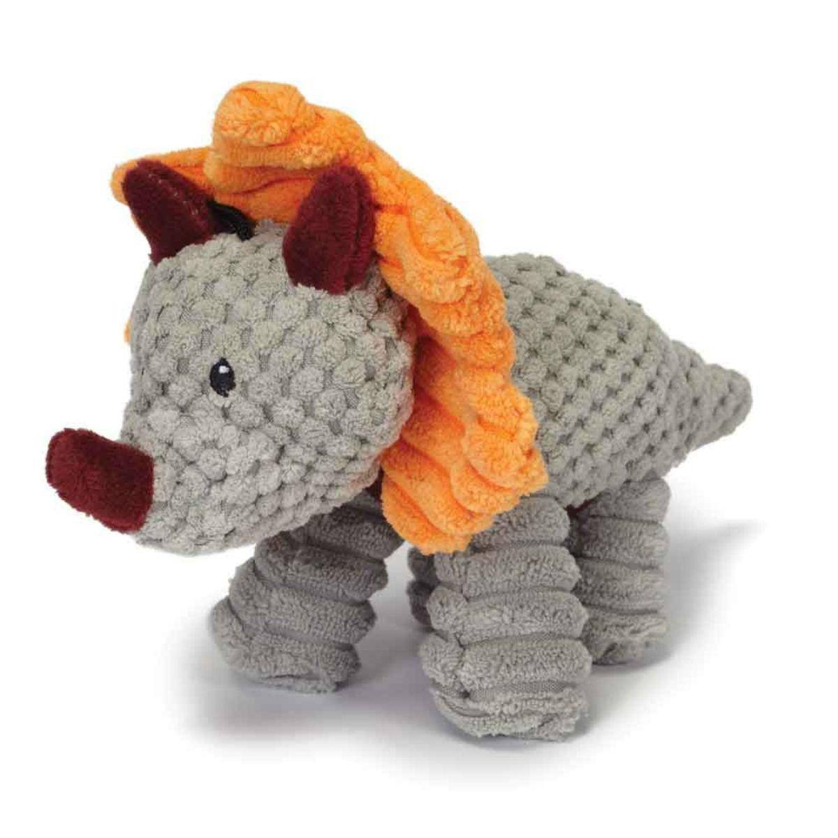 Play 365 Jurassic Cord Crew Triceratops Dog Toy - Gray