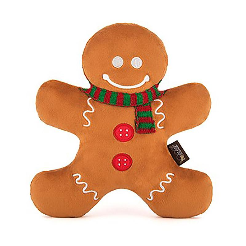 P.L.A.Y. Holiday Classic Dog Toy - Holly Jolly Gingerbread Man