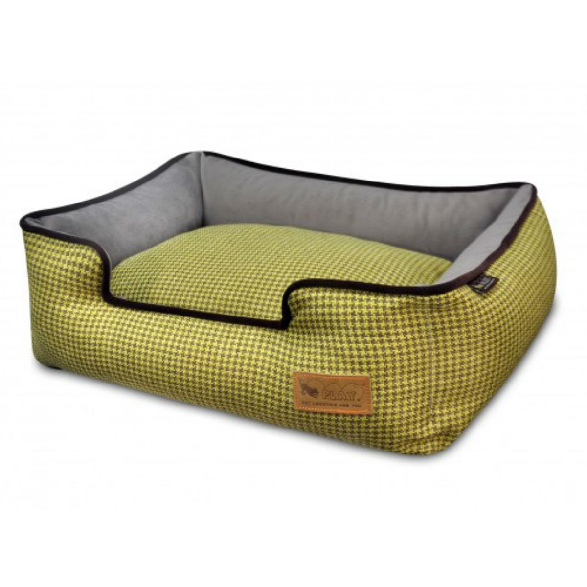 P.L.A.Y. Houndstooth Lounge Dog Bed - Buttercup Yellow