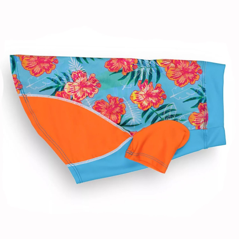 Playa Pup Sun Protection Dog Shirt - Tropical Floral Blue