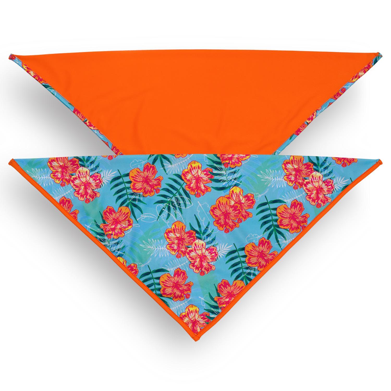 Playa Pup UPF50+ Reversible Dog Bandana - Tropical Floral Blue/Tagate