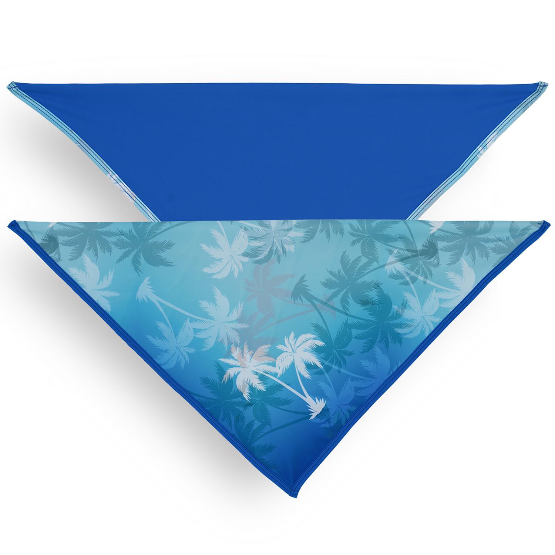 Playa Pup UPF50+ Reversible Dog Bandana - Palm Tree Blue/Royal Blue