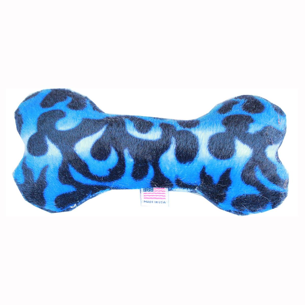 Plush Bone Dog Toy - Blue Flame