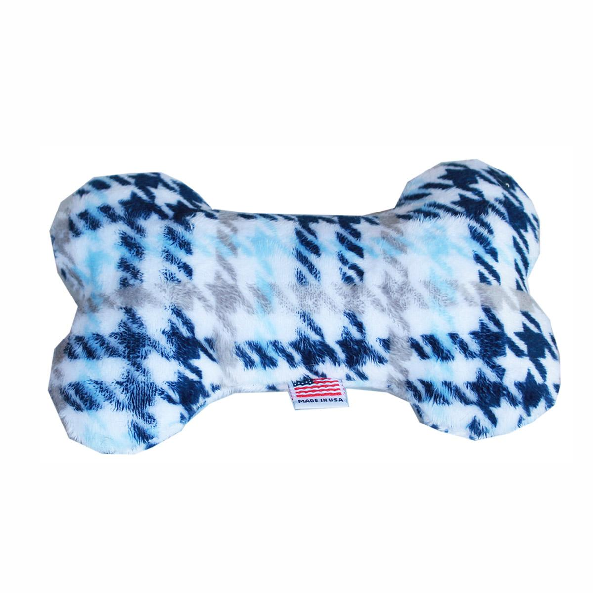 Plush Bone Dog Toy - Blue Plaid