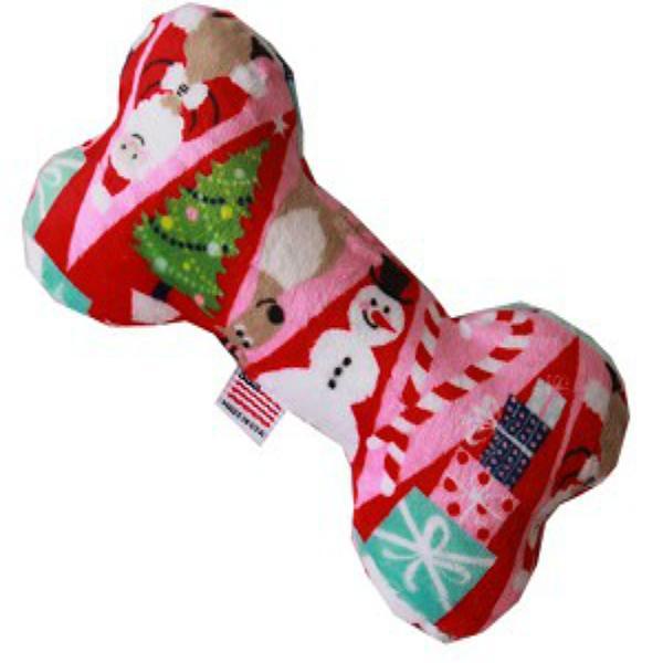Plush Bone Dog Toy - Christmas Medley