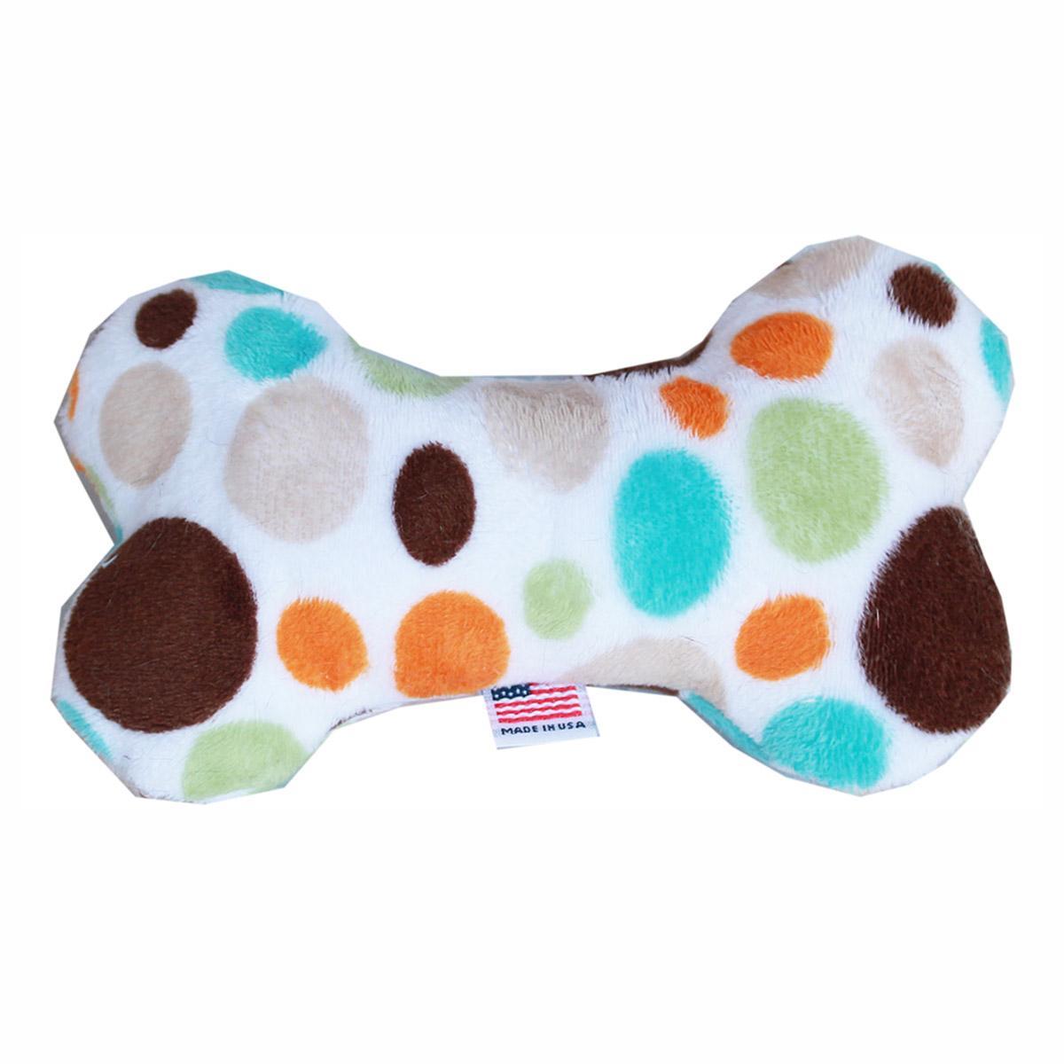 Plush Bone Dog Toy - Fall Party Dots