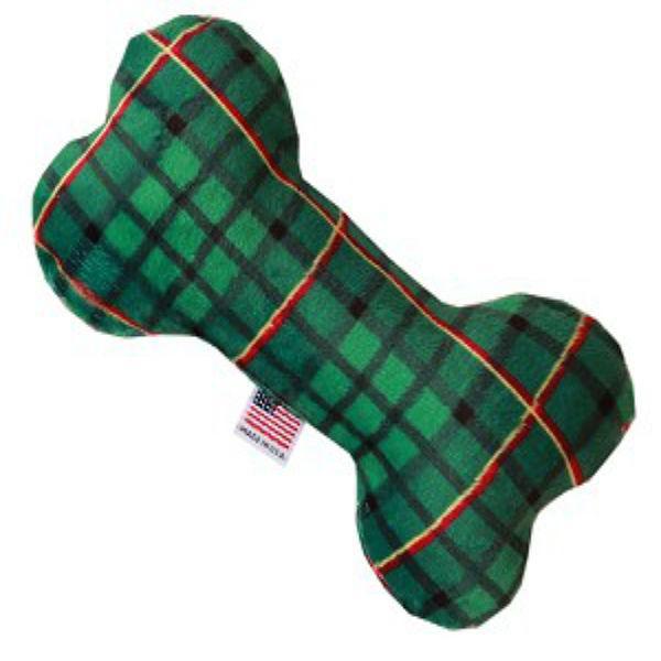 Plush Bone Dog Toy - Green Plaid