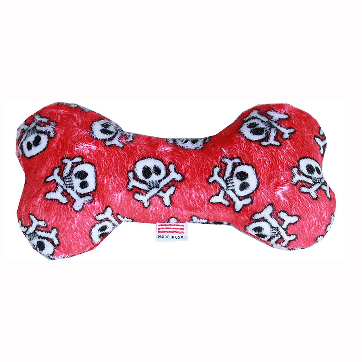 Plush Bone Dog Toy - Red Skull