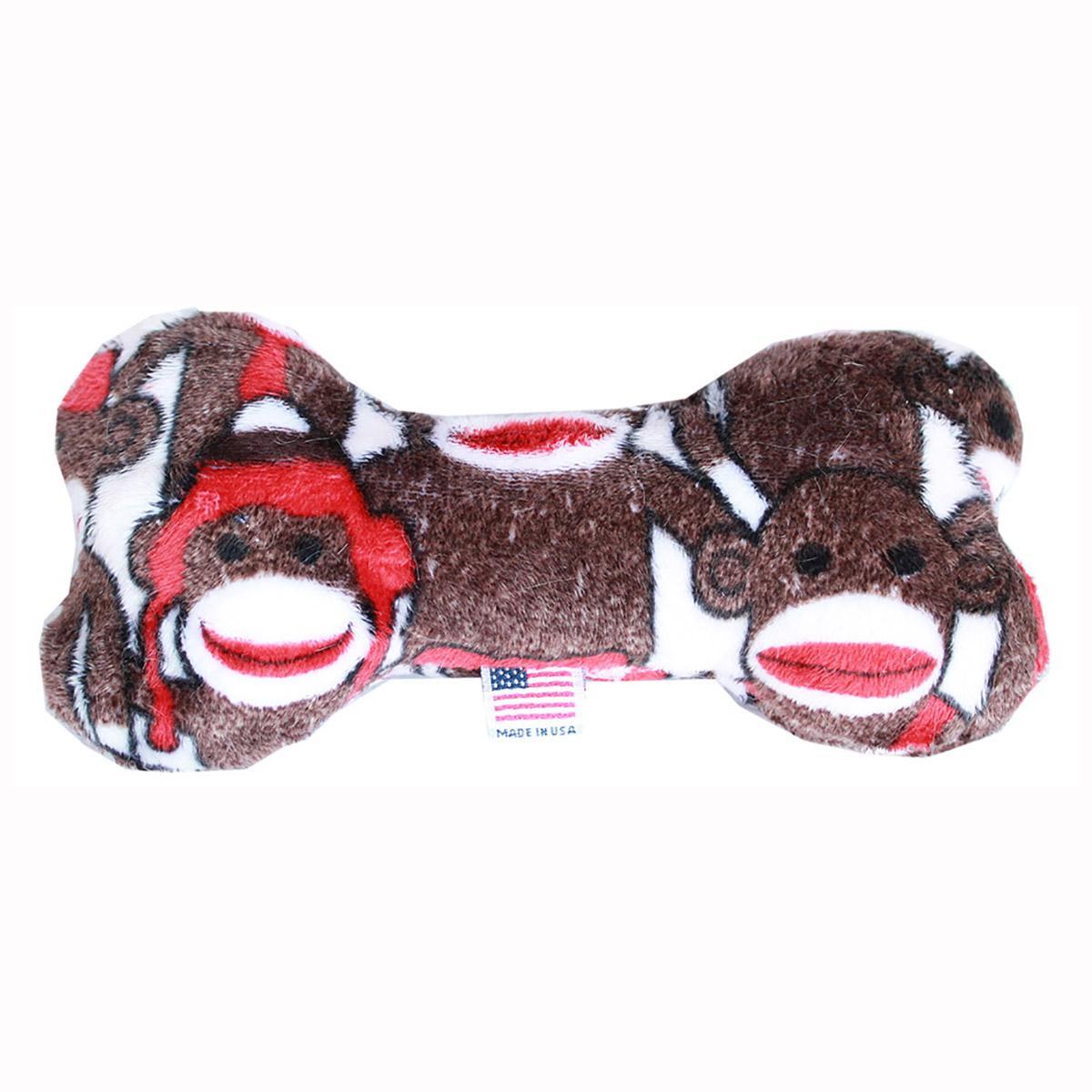 Plush Bone Dog Toy - Sock Monkey
