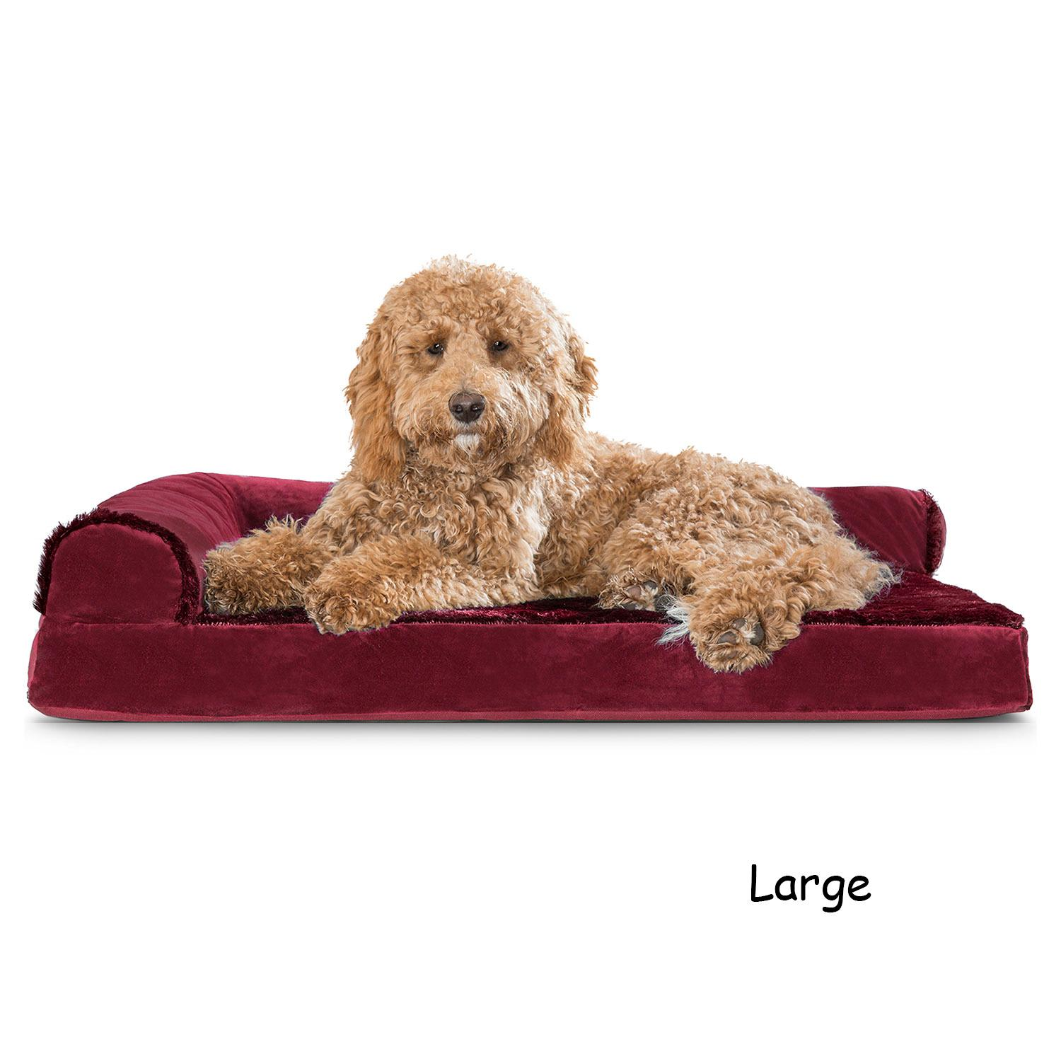 FurHaven Plush & Velvet Deluxe Chaise Lounge Orthopedic Sofa-Style Dog Bed - Merlot Red