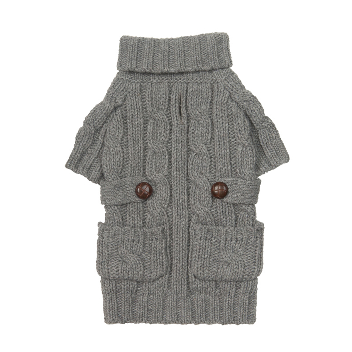 Pocket Cable Knit Dog Sweater - Heather Gray