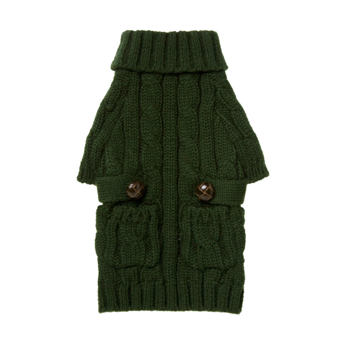 Pocket Cable Knit Dog Sweater - Hunter Green with Same Day ...