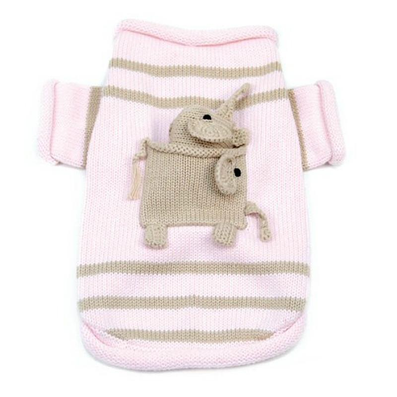Pocket Full Of Elephant Dog Sweater With Elephant Toy By Oscar Newman