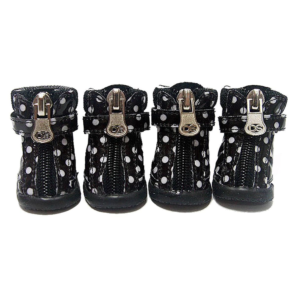 Polka Dot Hiker Dog Boots - Black