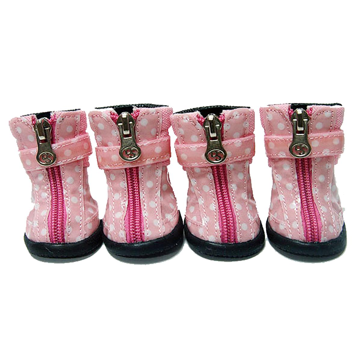 Polka Dot Hiker Dog Boots - Light Pink