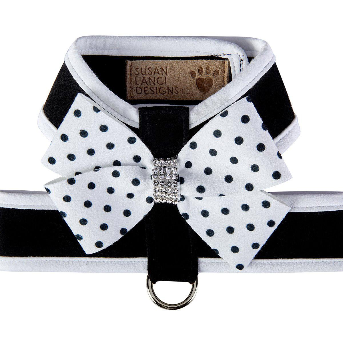 Polka Dot Nouveau Bow Tinkie Dog Harness with Trim by Susan Lanci - Black & White