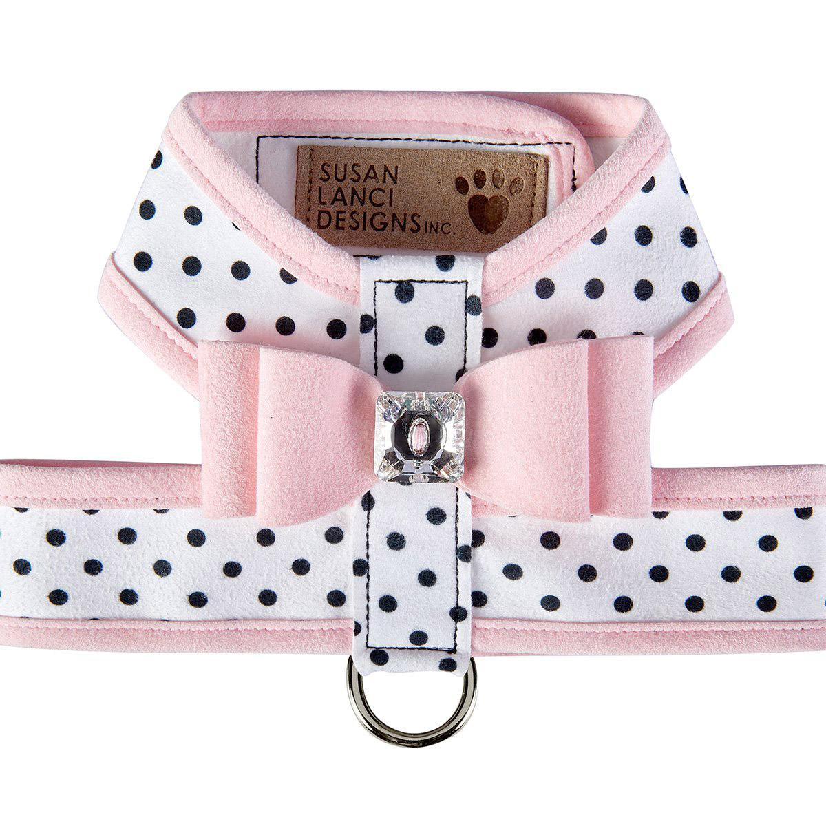 Polka Dot Tinkie Dog Harness with Big Bow and Trim by Susan Lanci - Puppy Pink