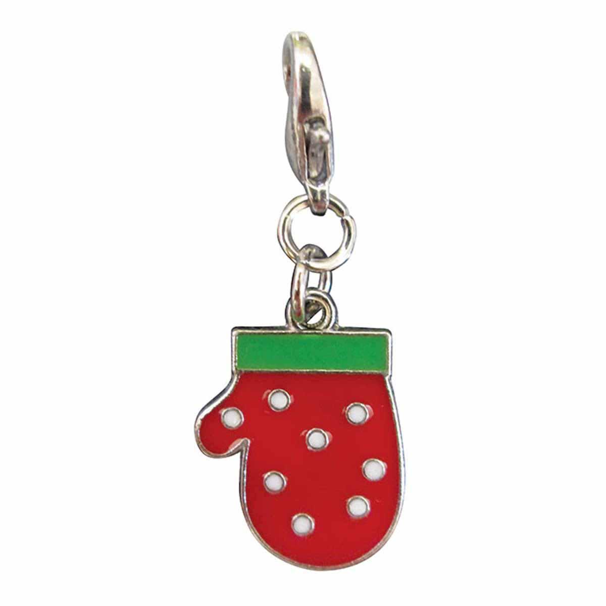 Polka Dots Mitten Enamel Dog Collar Charm by Klippo