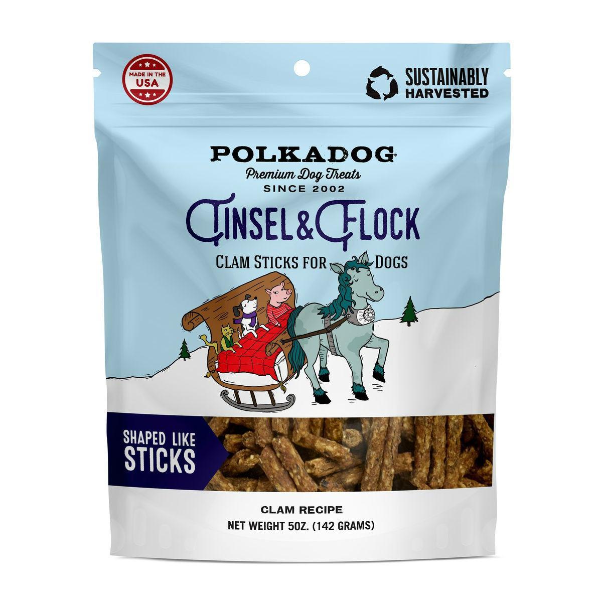 Polkadog Tinsel & Flock Holiday Dog Treat - Clam Recipe Sticks