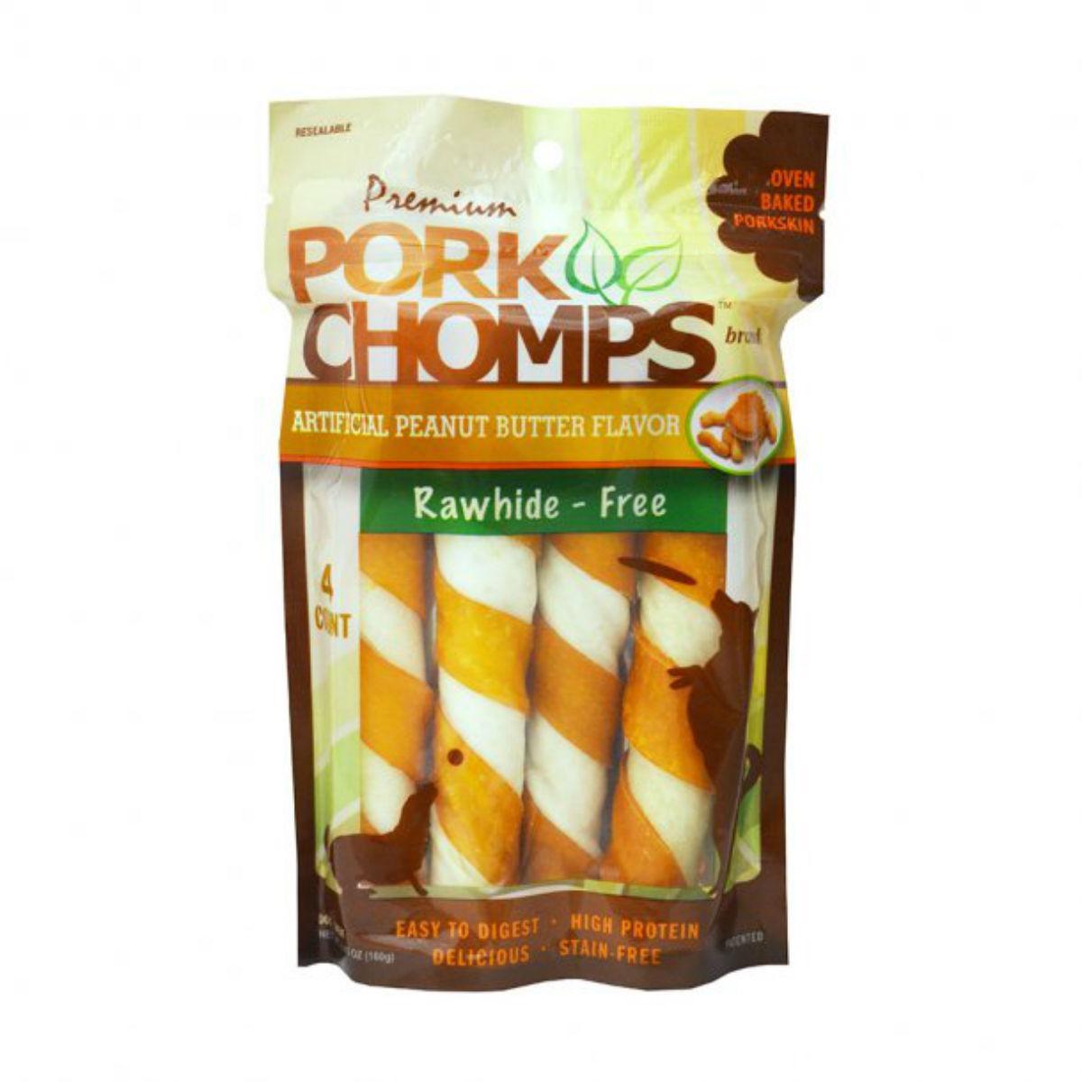 Pork Chomps Twists Dog Treats - Peanut Butter
