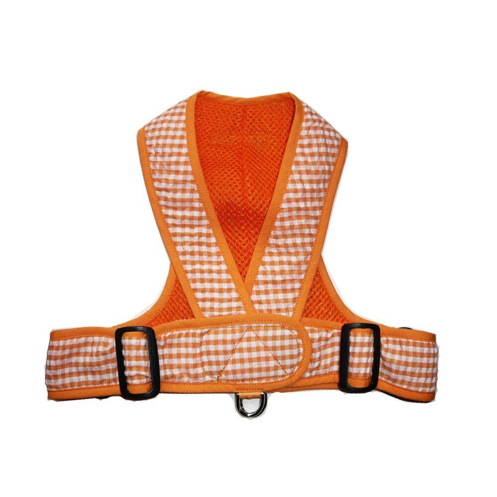 Precision Fit Gingham Dog Harness - Orange